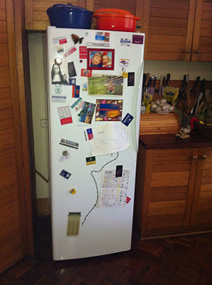 The white wall of my refrigerator